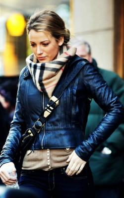 Blake Lively wearing Burberry scarf and leather jacket