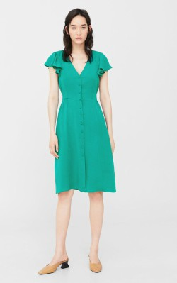 12 Pieces for a Hepburn-inspired Wardrobe - Mango Ruffled midi dress $99.99