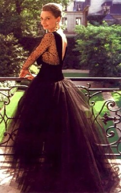 Audrey Hepburn formal / special occasion style black gown with tulle skirt - shop the look