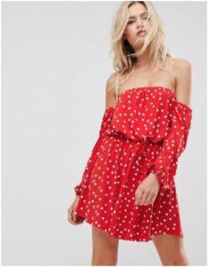 ASOS Bardot Long Sleeve Polka Dot Dress