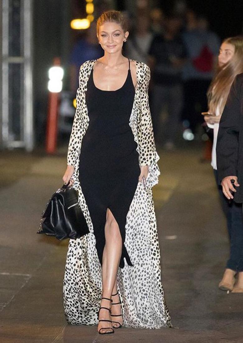 Gigi Haded Kimono Jacket Fashion Style LBD Heels