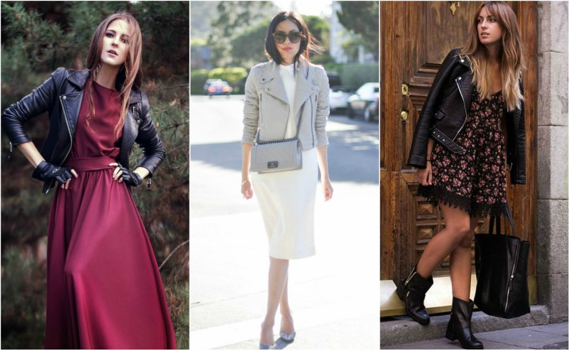 street style imagery of how to wear a leather jacket with a dress