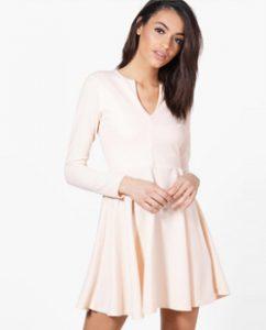 Boohoo Rebecca Long Sleeve Skater Dress
