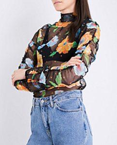 Topshop Boutique Floral-Print Mesh Top