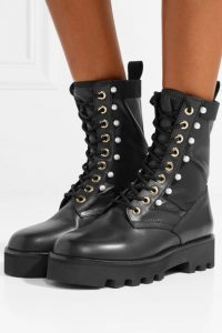 ALTUZARRA Faux pearl-embellished canvas-trimmed leather ankle boots