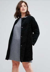 ASOS Elvi Black Faux Fur Cocoon Coat