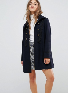 ASOS PETITE Military Coat with Frogging Detail