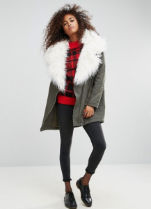 ASOS Parka with Faux Mongolian Collar