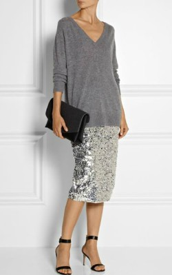 Grey v-neck cashmere jumper / sweater dressed up with sparkly silver skirt and black heels - shop the look
