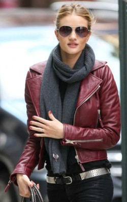 Rosie Huntington-Whiteley street style red burgundy leather jacket with grey scarf and sunglasses - shop the look