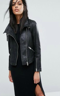 ASOS AllSaints Lewin Leather Biker Jacket - Funnel collar with pin-buckle fastening