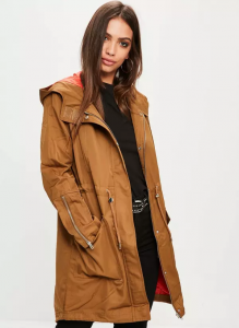Missguided khaki contrast lining parka jacket