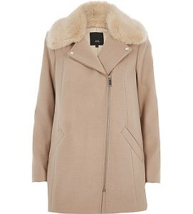 River Island Camel biker faux fur collar coat