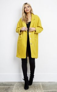 Silkfred Liquorish Yellow Oversized Wool Mix Cocoon Coat