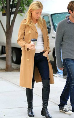 Gwyneth Paltrow street style trench coat with blue jeans and white shirt - shop the look
