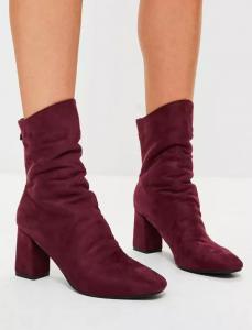 burgundy sock leg suedette midi boots