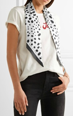 Net-a-Porter Marc Jacobs Polka-dot silk-satin twill scarf