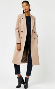 Warehouse SILK MIX LONG LINE CROMBIE - £129 in camel