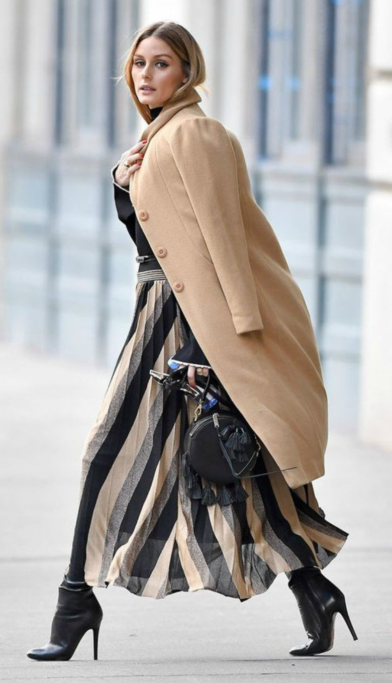 Celebrities wearing camel coats Olivia Palermo - striped skirt, heeled boots and camel coat