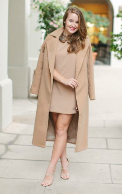 How to style a camel coat dressy - short camel colored shift dress and camel coat