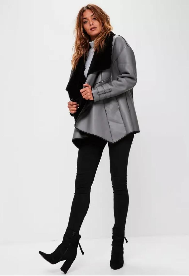 Premium Gray Waterfall Shearling Jacket