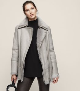 Reiss Nicole LONG-HAIRED SHEARLING COAT GREY