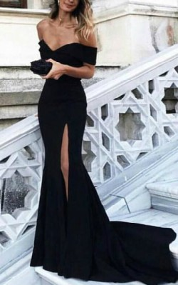 What to wear to a black tie dinner - full length off the shoulder back gown with side split