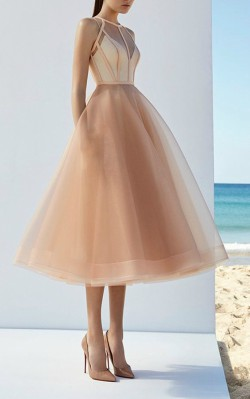 What to wear to a black tie wedding - light pink/nude short formal dress with tulle skirt