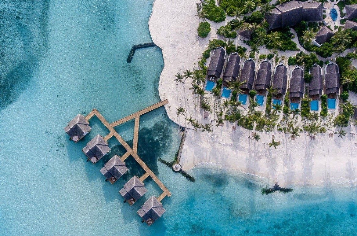 Fushi Faru aerial shot luxury resort in the Maldives